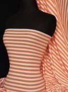 100% Viscose Stretch Fabric Material- Orange/White Stripe Q507 ORWHT