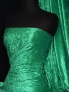 Crushed Velvet/Velour Stretch Material- Emerald Green Q156 EMGR