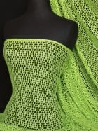 Fish Net 4 Way Stretch Circle Knit Material- Lime Green Q899 LM