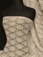 Lace Flower 4 Way Stretch Fabric- Stone Q936 STN