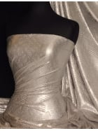 Metallic Foil Lurex Stretch Fabric- Silver/Matt Gold SQ179 GLSLV
