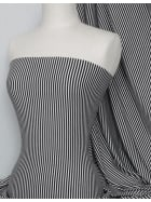 100% Viscose Stretch Fabric- Stripe Black/White Q407 BKWHT