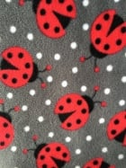 Polar Fleece Anti Pill Washable Soft Fabric- Ladybirds Grey/Red PPFL50 GRRD