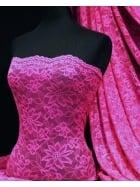 Lace Scalloped Flower 4 Way Stretch Fabric- Fuchsia Q891 FUCH