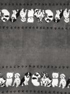 Polar Fleece Anti Pill Washable Soft Fabric- Border Print Puppies Q1409 GR