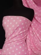 Polar Fleece Anti Pill Washable Soft Fabric- Pink/White Polka Dots Q44 PNWHT