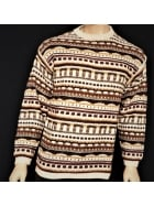 MEN'S Cream/Multi Print Crew Neck Jumper- CV3 CRMLT