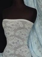 Lace Stretch Floral Fabric- Blue Antique Q505 BL SL
