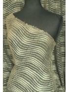 Clearance Fishnet Wave Polyester Elastine Material- Khaki Green SQ48 KHGR