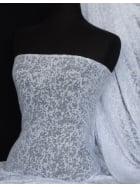 Viscose Burnout Stretch Fabric- White Mini Leopard Q975 WHT