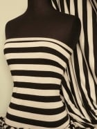 100% Viscose Stretch Fabric Material- Wide Stripe Black/Cream Q627 BKCRM