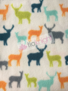 Polar Fleece Anti Pill Washable Soft Fabric- Deers Ivory/Multi SQ234 IVMLT