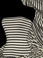 Viscose Cotton Stretch Fabric- Stripe Black/Cream Q446 BKCRM