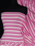 Viscose Cotton 4 Way Stretch Fabric- Stripe Pink/White Q320 PNWHT