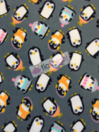 Polar Fleece Anti Pill Washable Soft Fabric- Penguins Grey/Multi SQ226 GRMLT
