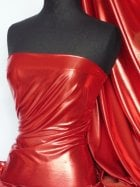 Wet Look Foil Stretch Lycra Fabric- Red NG253 RD
