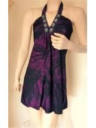 Little Purple Jungle Print Halter-Neck Dress