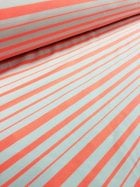 20 METRES Jersey Lycra 4 Way Stretch Material Job Lot Bolt- Neon Peach/Multi Horizontal Stripe JBL52 NPCH