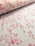 20 METRES Light Jersey Stretch Material Job Lot Bolt- Pink Floral Glitter JBL60 WHTPN
