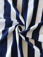 Poly Viscose Stretch Fabric- Navy/White Stripe SQ261 NYWH