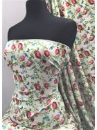 Smooth Touch Woven Blouse/Dress Fabric- Ivory Multi Florals SMT18 IVMLT