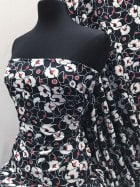 Smooth Touch Woven Blouse/Dress Fabric- Poppy Flower Art SMT22 NYRDWHT