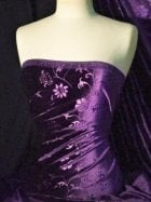Velvet Spandex Stretch Fabric- Plum Flowers Q1287 PLM