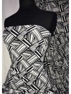 Printed Silk Touch 4 Way Stretch Fabric- African Monochrome SQ296 BKIV