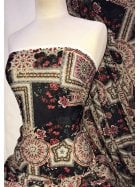 Knitwear 4 Way Stretch Fabric- Turkish Floral Red/Multi SQ300 BKRDGRN
