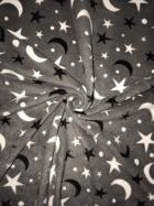Polar Fleece Anti Pill Washable Soft Fabric- Moon & Stars Grey SQ307 GRWH