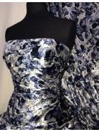 NEW Marble Printed Velvet/Velour Stretch Fabric- Blue Odyssey Floral SQ312 BLGR