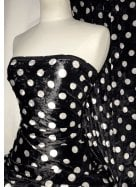 NEW Marble Printed Velvet/Velour Stretch Fabric- Polka Dots Black/White SQ315 BKWHT