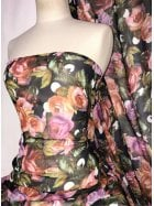 Chiffon Soft Touch Sheer Fabric- Blooming Roses CHF257 BKMLT