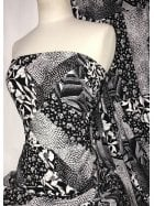 Smooth Touch Woven Blouse/Dress Fabric- Floral Collage SMT38 BKWHT