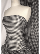 Georgette Crepe Soft Touch Sheer Fabric- Gingham SQ336 BKWHT