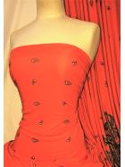 20 METRES Viscose Cotton Stretch Lycra Fabric Job Lot Bolt- Orange/Black Paisley JBL234 ORBK