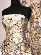 Viscose Elastine Stretch Fabric- Mustard/Grey Florals SQ357 MSTGR