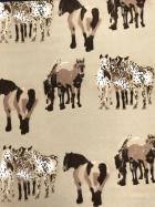 Polar Fleece Anti Pill Washable Soft Fabric- Horses Stone/Brown SQ361 STN