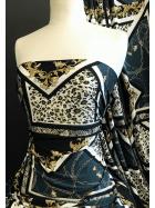 Printed Silk Touch 4 Way Stretch Fabric- Giovanna SQ379 GRNBK