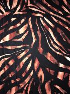 Georgette Crepe Sheer Fabric- Black/Rust Animal Print SQ395 BKRST