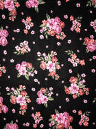 25 METRES 100% Viscose Woven Non-Stretch Material Wholesale Roll- Black/Pink Roses JBL339 BKPN