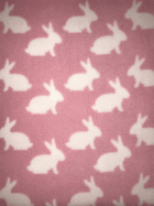 Polar Fleece Anti Pill Washable Soft Fabric- Bunnies Baby Pink/White SQ399 BPNWHT