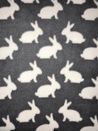 Polar Fleece Anti Pill Washable Soft Fabric- Bunnies Grey/White SQ399 GRWHT