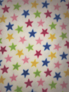 Polar Fleece Anti Pill Washable Soft Fabric- Ivory/Multi Mini Stars SQ397 IVMLT