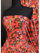 25 METRES Spun Poly Viscose Elastine 4 Way Stretch Fabric Wholesale Roll- Orange/Multi Gardenia JBL346 ORMLT