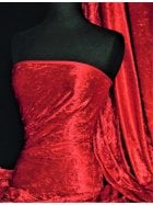 Crushed Velvet/Velour 4 Way Stretch Fabric- Red SQ404 RD