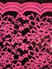Lace Scalloped Lycra 4 Way Stretch Fabric- Neon Pink/Black Rose Q1170 NPNBK