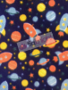 Polar Fleece Anti Pill Washable Soft Fabric- Spaceships Navy/Multi SQ231 NYMLT