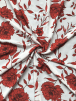 Crepe Blouse/Dress Fabric- Ivory/Red Peony Flowers SQ271 IVRD