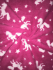 Polar Fleece Anti Pill Washable Soft Fabric- Magical Unicorns Cerise SQ286 CRS